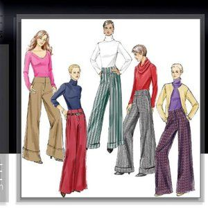Vogue Pattern V8131 Wideleg Pants Sz 12 14 16 18